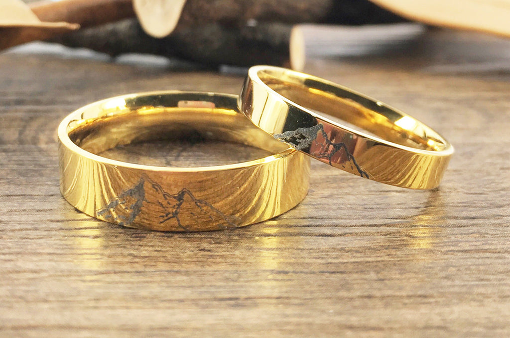 Handmade Your Drawings Ring Unique Wedding Bands Gold Titanium Wedding Ring Set Couple Anniversary Ring Set Polished Flat Shape 4mm 6mm