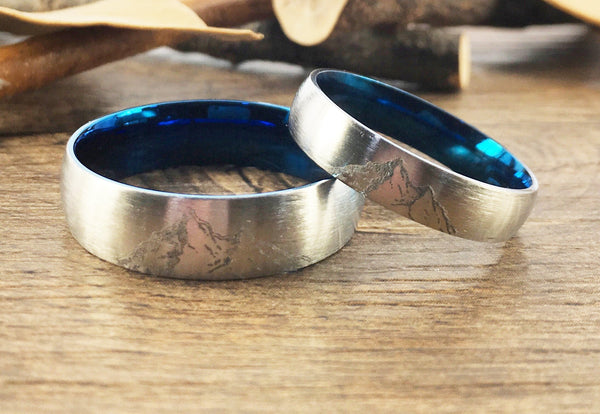 Handmade Your Drawings Ring Unique Wedding Bands Set Two Tone Silver Blue Titanium Wedding Ring Set Couple Ring Set Matte Dome Shape 5mm 7mm