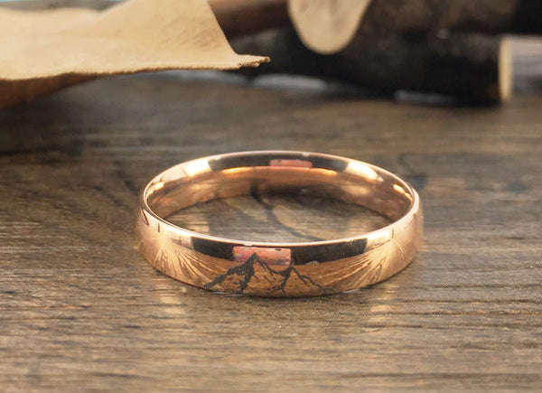 Handmade Your Drawings Ring Unique Wedding Band Rose Gold Titanium Women Promise Ring Couple Anniversary Ring Polished Finish Dome Shape 4mm