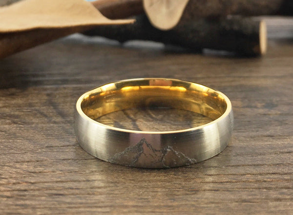 Handmade Your Drawings Ring Unique Wedding Band Two Tone Silver Gold Titanium Couple Ring Promise Ring Women Ring Matte Dome Shape 5mm