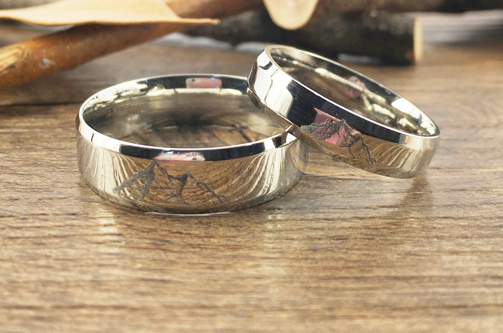 Unique Wedding Ring.Handmade Your Drawings Ring Unique Wedding Bands Silver Titanium Wedding Ring Set Couple Anniversary Ring Set Polished Beveled Shape 5mm 7mm