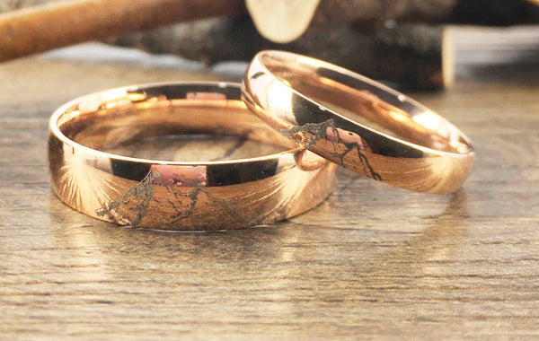 Handmade Your Drawings Ring Unique Wedding Bands Rose Gold Titanium Wedding Ring Set Couple Anniversary Ring Set Polished Dome Shape 4mm 6mm