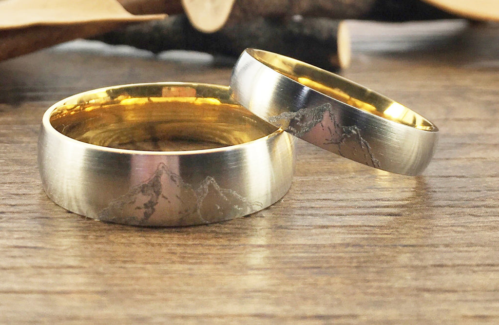Handmade Your Drawings Ring Unique Wedding Bands Set Two Tone Silver Gold Titanium Wedding Ring Set Couple Ring Set Matte Dome Shape 5mm 7mm