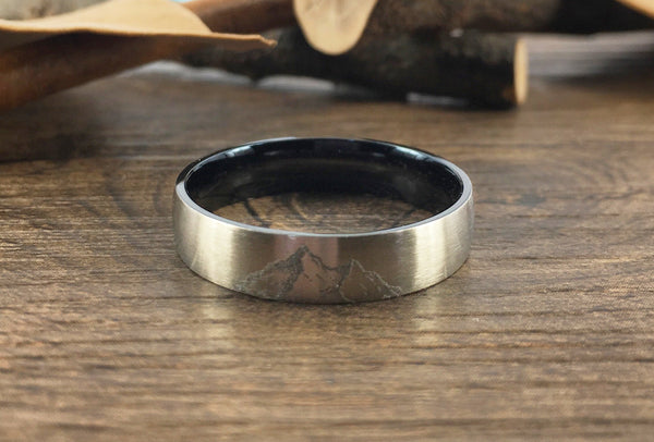 Handmade Your Drawings Ring Unique Wedding Band Two Tone Silver Black Titanium Promise Ring Couple Ring Women Ring Matte Dome Shape 5mm