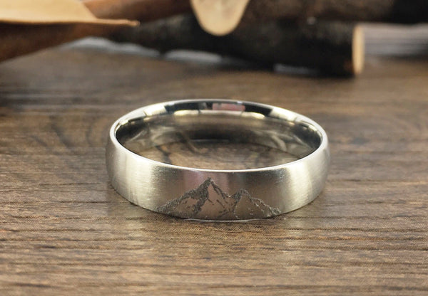 Handmade Your Drawings Ring Unique Wedding Band Silver Titanium Wedding Band Couple Ring Promise Ring Women Ring Matte Dome Shape 5mm