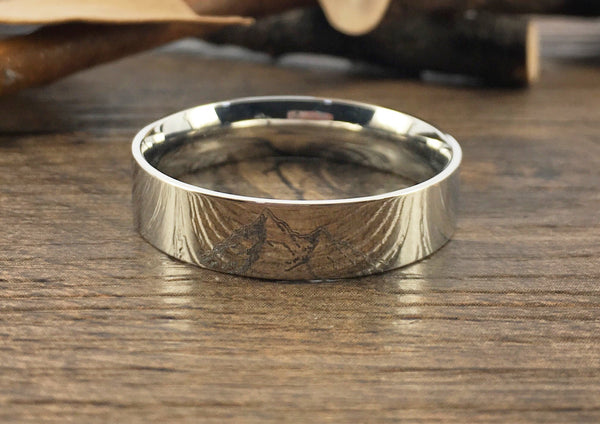 Handmade Your Drawings Ring Unique Wedding Band Silver Titanium Wedding Ring Promise Ring Couple Ring Men Ring Polished Flat Shape 6mm