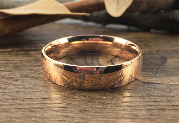 Handmade Your Drawings Ring Unique Wedding Band Rose Gold Titanium Wedding Ring Promise Ring Couple Ring Men Ring Polished Dome Shape 6mm