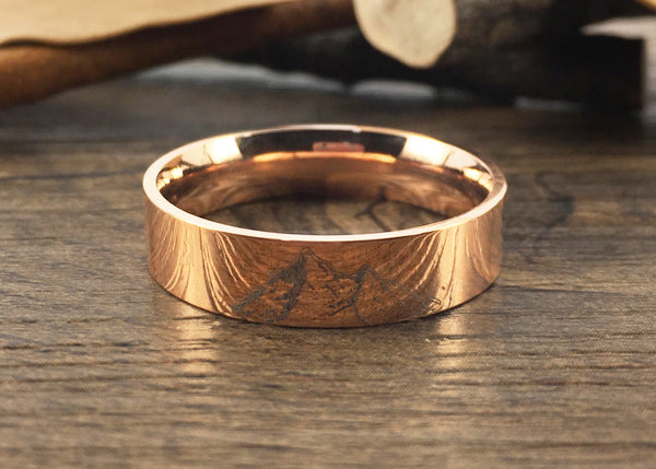 Handmade Your Drawings Ring Unique Wedding Band Rose Gold Titanium Wedding Ring Promise Ring Couple Ring Men Ring Polished Flat Shape 6mm