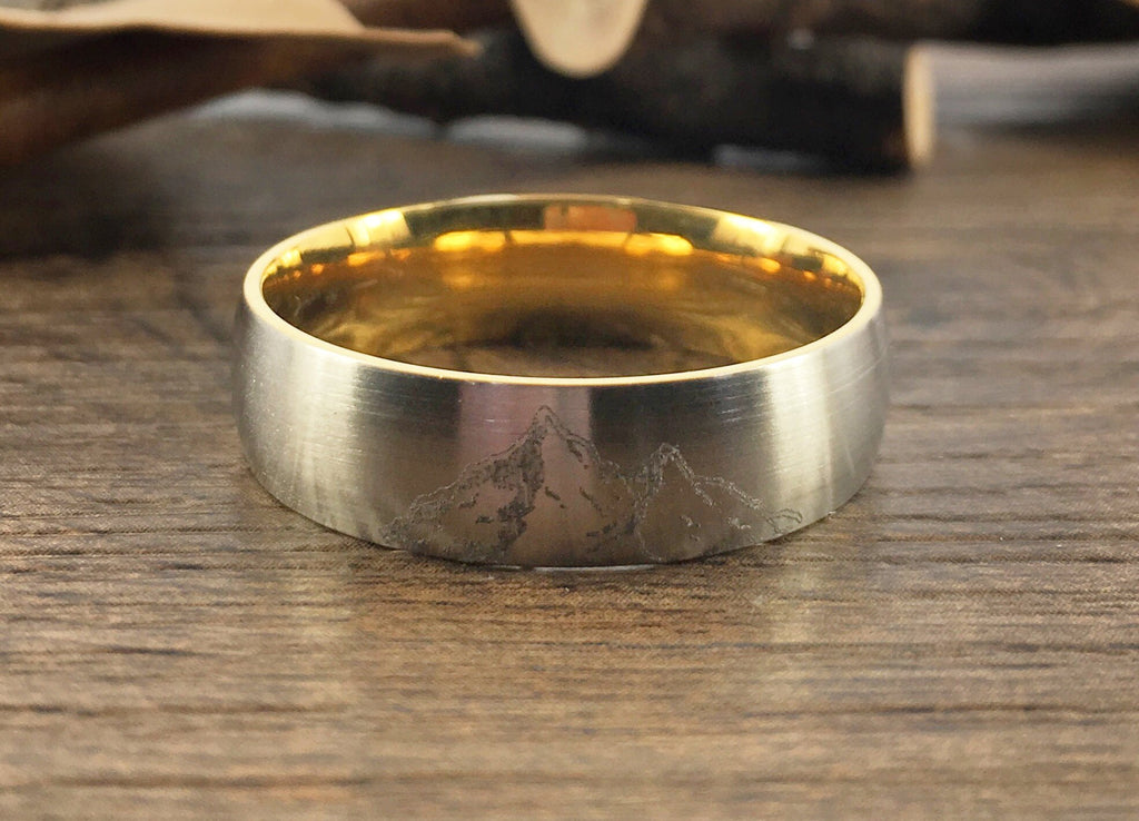 Handmade Your Drawings Ring Unique Wedding Band Two Tone Silver Gold Titanium Promise Ring Couple Ring Men Ring Polished Dome Shape 7mm