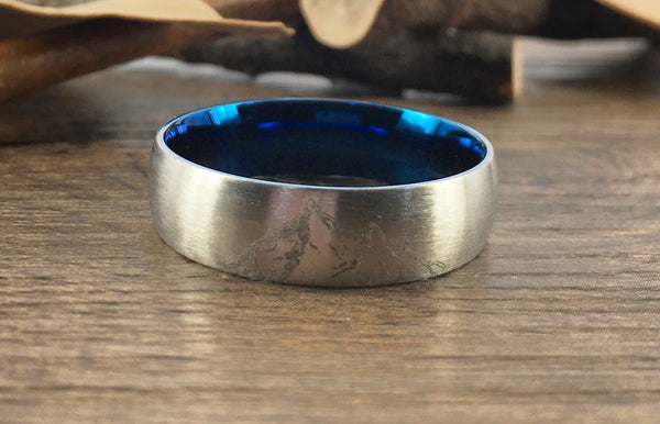 Handmade Your Drawings Ring Unique Wedding Band Two Tone Silver Blue Titanium Promise Ring Couple Ring Men Ring Polished Dome Shape 7mm