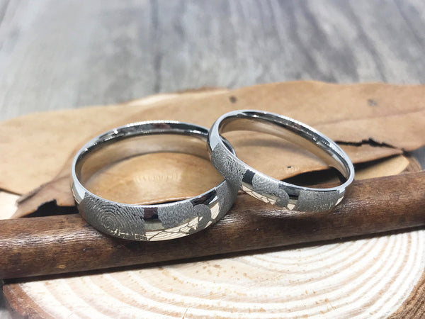Handmade Fingerprint Comic Rings set, Love Rings, Kiss Matching Wedding Rings, his and her promise ring, Wedding Rings Set, couple rings