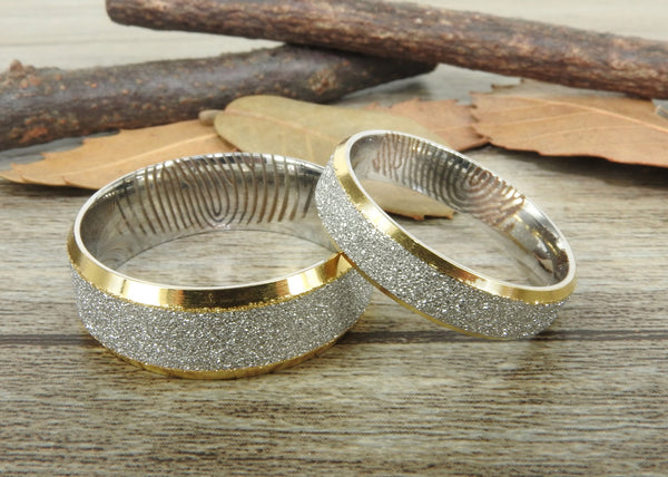 Your Actual Finger Print Rings, His and Her Rings, WEDDING RING - Personalized Matt Two Tone Gold Wedding Titanium Rings Set