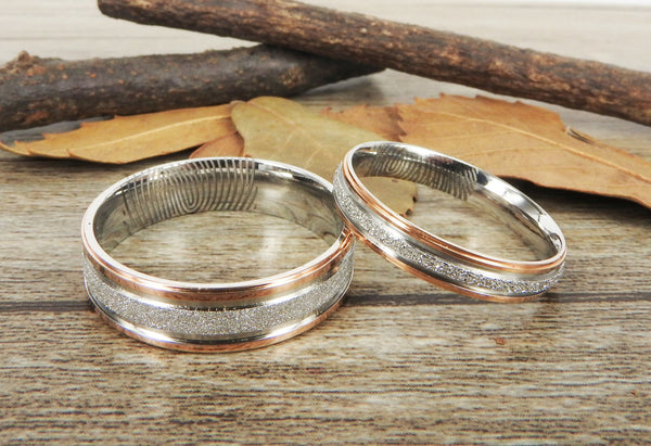 Your Actual Finger Print Rings, Handmade Rose Gold Matching Wedding Bands, Couple Rings Set, Titanium Rings Set, Anniversary Rings Set