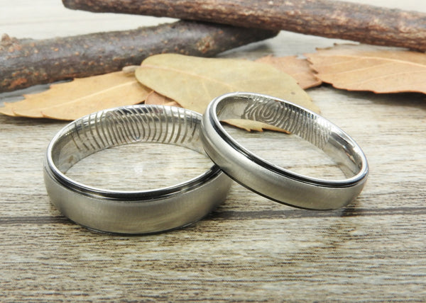 Your Actual Finger Print Rings, Handmade Dome Matte Wedding Bands, Couple Rings Set, Titanium Rings Set, Anniversary Rings Set