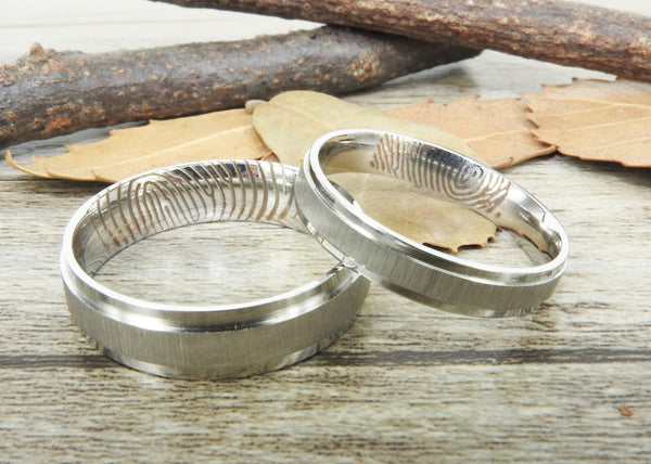 Your Actual Finger Print Rings, His and Her Rings, Handmade Matte Wedding Bands, Couple Rings Set, Titanium Rings Set, Anniversary Rings Set