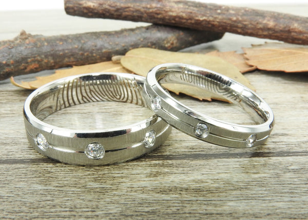 Your Actual Finger Print Rings, His and Her Rings, Handmade Cubic Zirconia Matte Wedding Bands,  Titanium Rings Set, Anniversary Rings Set