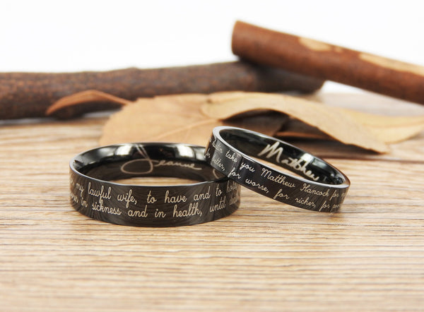 Handmade Your Marriage Vow & Signature Rings Wedding Rings, Black Matching Wedding Bands, Titanium Couple Rings Set