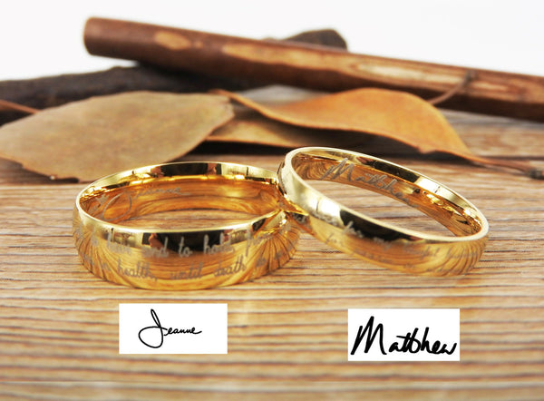 Handmade Your Marriage Vow & Signature Rings Wedding Rings, Glod Matching Wedding Bands, Titanium Couple Rings Set