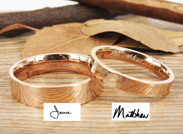Handmade Your Marriage Vow & Signature Rings Wedding Rings, Rosa Gold Matching Wedding Bands, Titanium Couple Rings Set