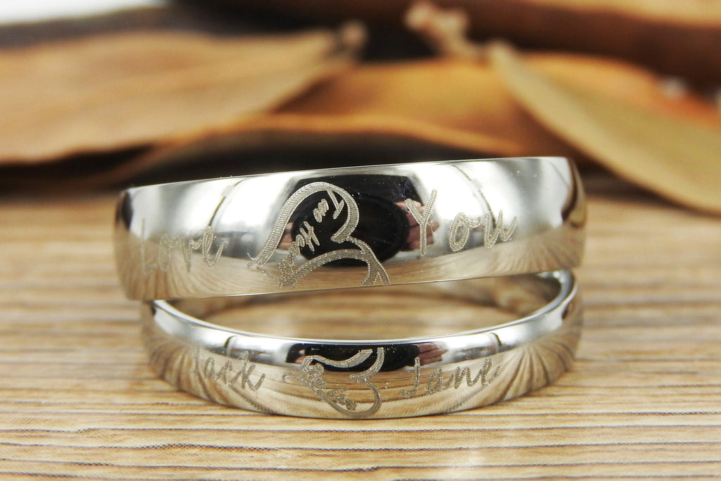 Handmade Two Heart become One Heart Matching Wedding Rings, his and he
