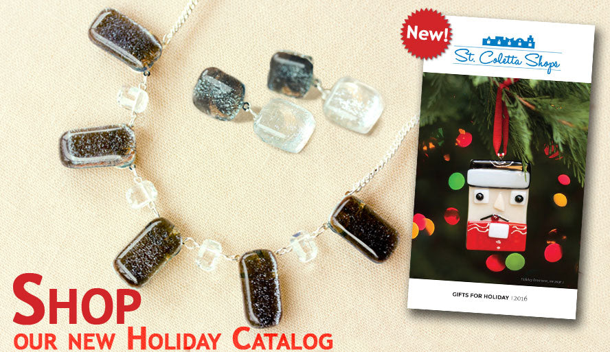 Display of fused glass & Swarovsky jewelry & Holiday Gift Catalog 2016