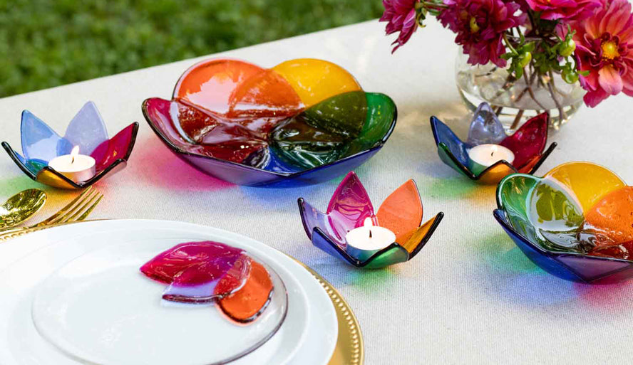 Fused glass bowls display