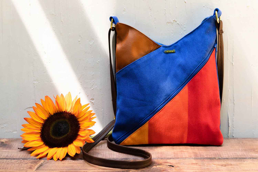 End of season sale a colorful purse and sunflower