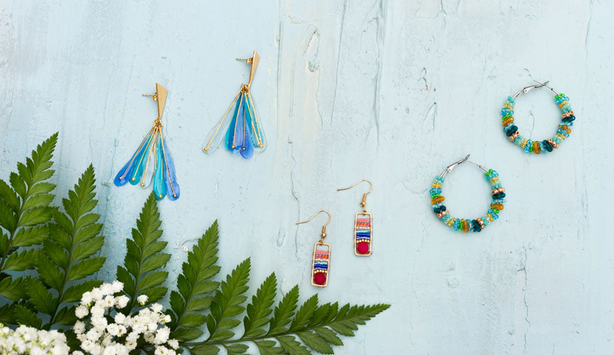 Spring Collection, jewelry set display: earrings