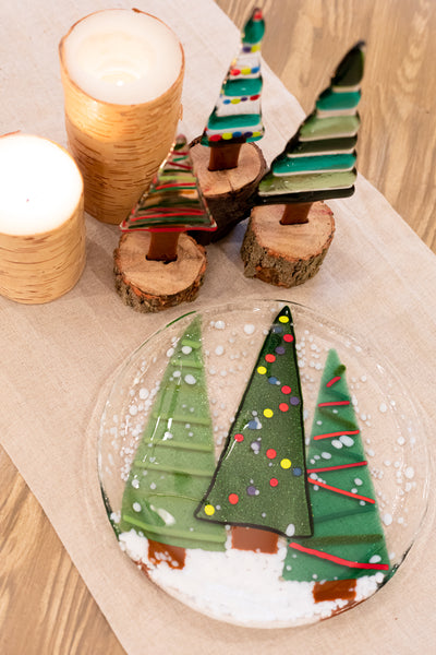 christmas tree platter with fused glass trees