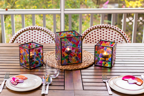 fused glass lantern in rainbow colors