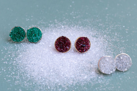fused glass stud earrings with a druzy effect in white, red and green