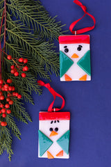 fused glass bird christmas tree ornament