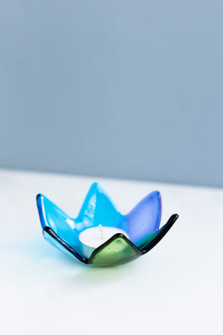 fused glass candle holder
