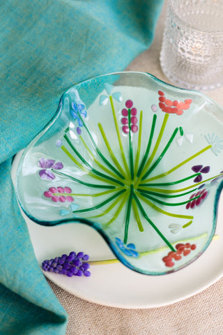 fused glass blue bowl with flowers