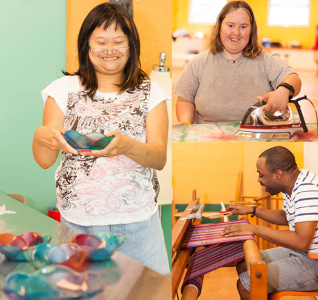 Adults participants and students artisans working on our studio