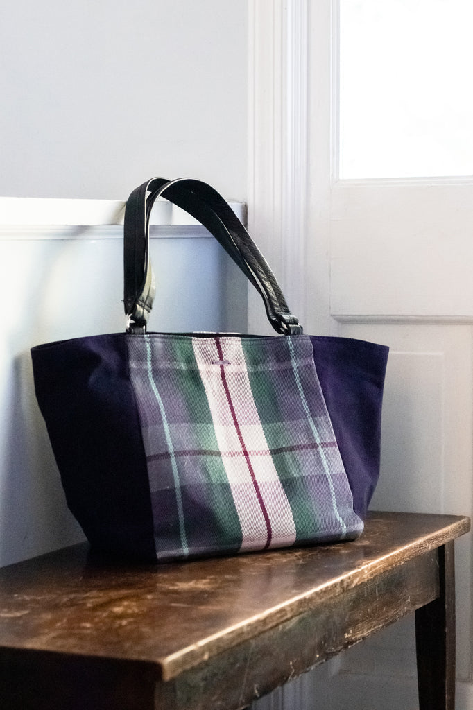 pink and purple plaid zurich trapeze bag