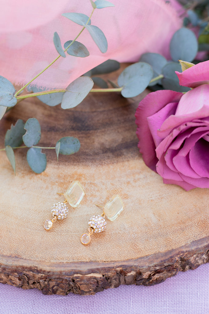 shimmery yellow wedding earrings