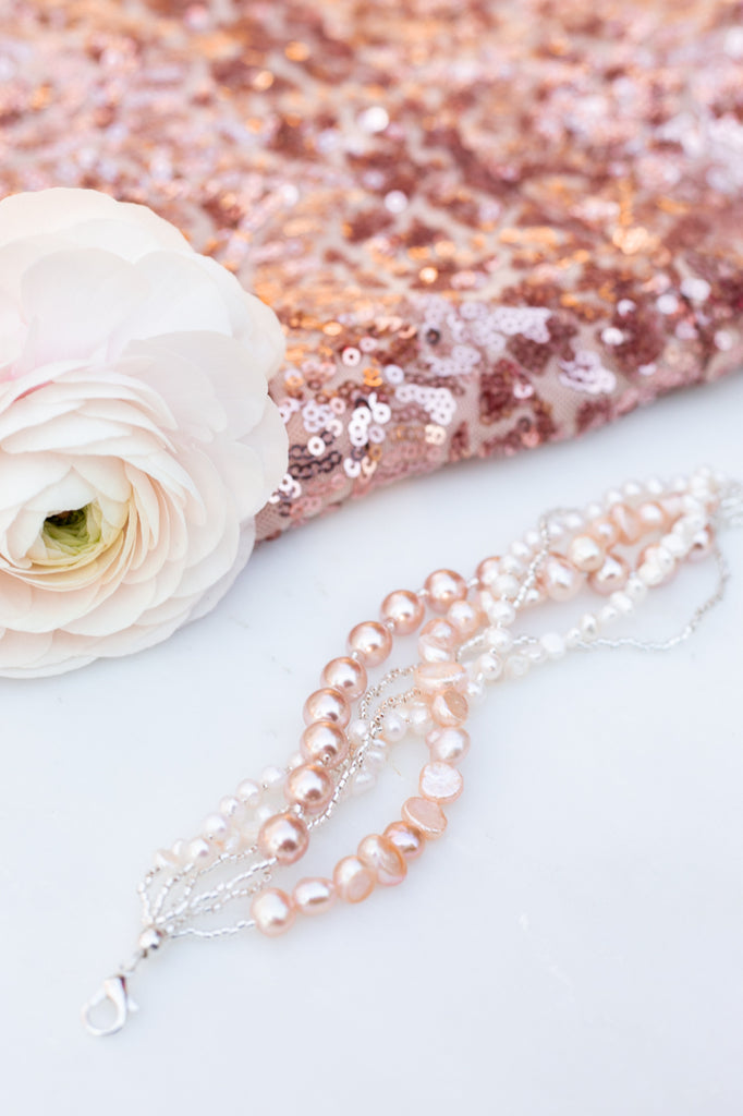 light pink pearl wedding bracelet