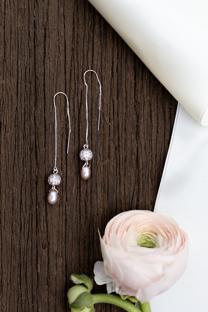 long drop pearl wedding earrings