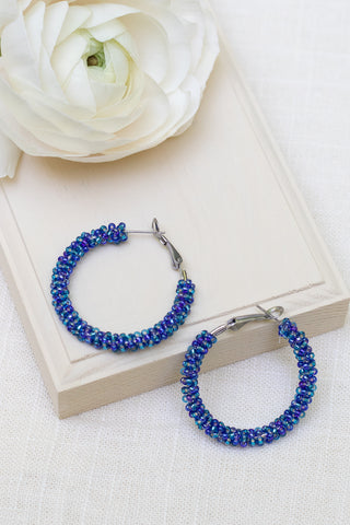 blue beaded hoop earring with silver finding hand made by people with disability