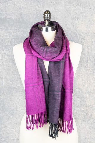hand woven silk wool winter scarf going from pink to black from side to side woven by adults with disabilities