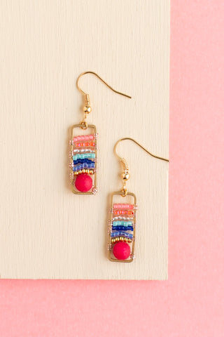 Naida multicolor beaded rectangular earrings with a radiating design with gold findings handmade by people with disabilities