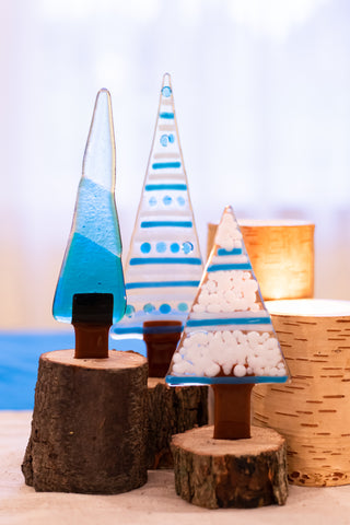 Christmas Trees in Blue- Set of 3