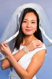 model wearing white bliss bracelet for wedding