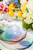 handmade fused glass appetizer plate and bowl in pastel colors with a floral pattern handmade by people with disabilities