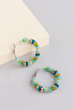 Katoo beaded hoop earrings in teal, green, gold, yellow and blue with silver findings