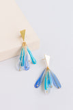 Plume drop resin earrings in blue and teal with gold triangular findings and feather design