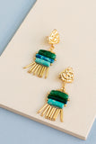 Axo Drop Beaded Fringe Earrings with shades of teal, green and blue with gold beads and hammered gold findings
