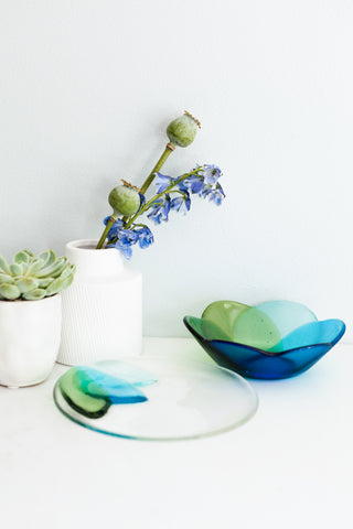 handmade Fused glass appetizer plate and bowl with a floral pattern in shades of blue and green made by people with disabilities