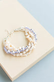 Bliss Chunky Wedding bracelet handmade from beads and swarovski pearls that are custom and made to order bridal accessory in shades of white, cream and lavendar